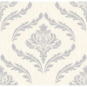 Debona Glitter Encrusted Vinyl Wallpaper Damask 9031 Grey Sample