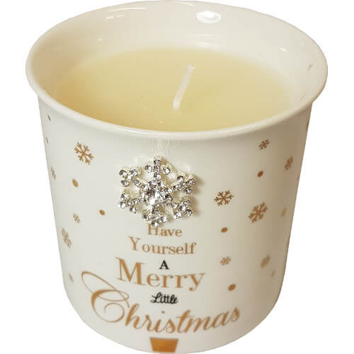 Christmas Candle Pot with Snowflake Detail