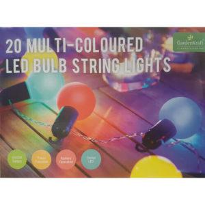 Multi-Coloured LED Bulb String Lights Set of 20