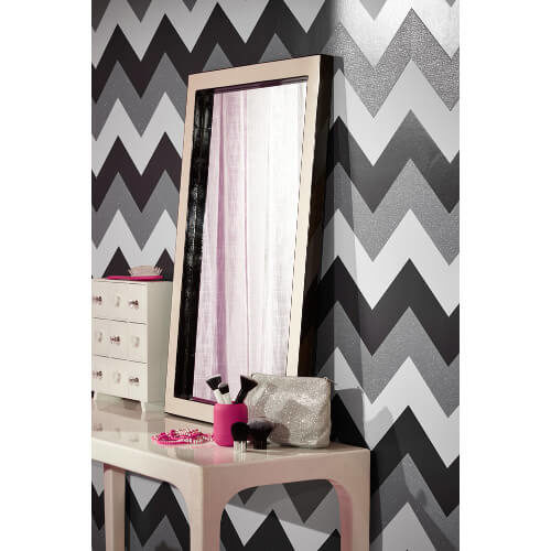 Glitterati Chevron Black/Platinum Glitter Vinyl Wallpaper 892301 Full Roll