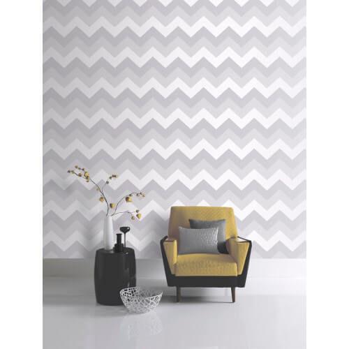 Glitterati Chevron Platinum Glitter Vinyl Wallpaper 892302 Full Roll
