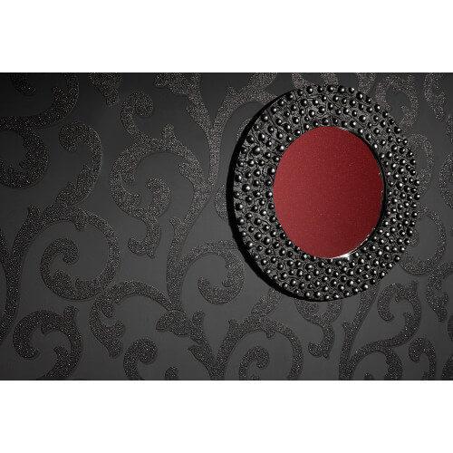 Glitterati Scroll Black Glitter Vinyl Wallpaper 892400 Full Roll