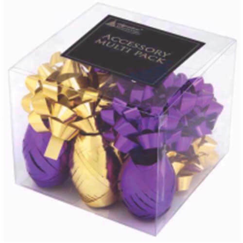 Bows & Ribbons Wrapping Pack Gold & Purple Gold