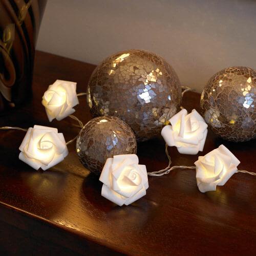 White Rose String Lights Set of 10 White