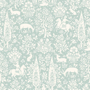 Crown Wallcoverings Woodland Wallpaper Duck Egg M1166 Sample