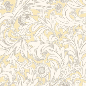 Crown Wallcoverings Meadow Scroll Wallpaper Yellow M1172 Sample