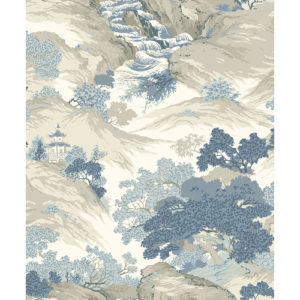 Crown Wallcoverings Oriental Landscape Wallpaper China Blue M1190 Sample
