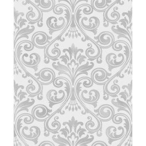 Fine Decor Wentworth Glitter Wallpaper Damask Grey & Silver FD41703 Sample