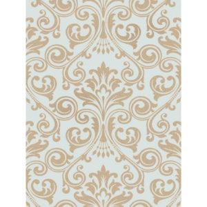 Fine Decor Wentworth Glitter Wallpaper Damask Duck Egg & Gold FD41709 Sample