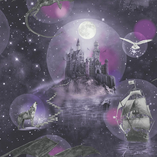 Arthouse Imagine Fun Wallpaper Magical Kingdom Purple 696101 Full Roll