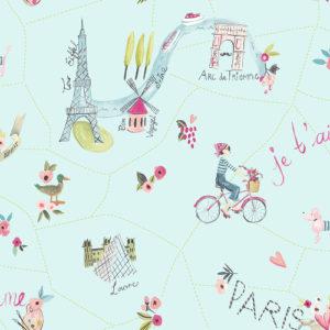 Arthouse Imagine Fun Wallpaper Paris with Love Duck Egg 696104 Full Roll