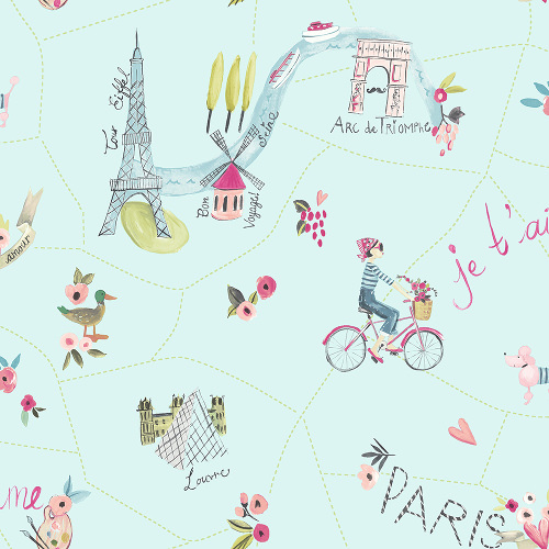 Arthouse Imagine Fun Wallpaper Paris with Love Duck Egg 696104 Full Roll