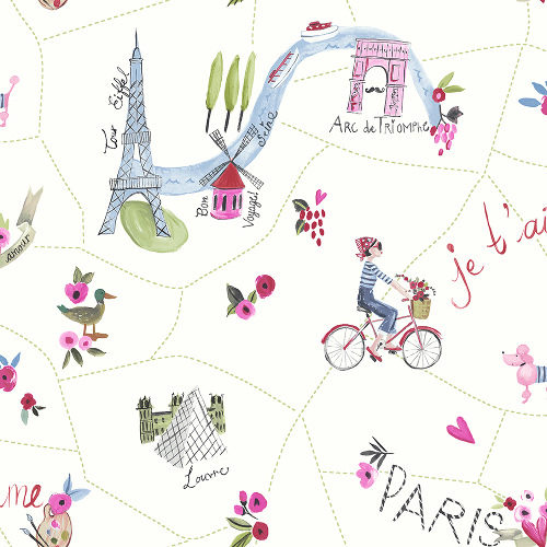 Arthouse Imagine Fun Wallpaper Paris with Love White Multi 696105 Full Roll