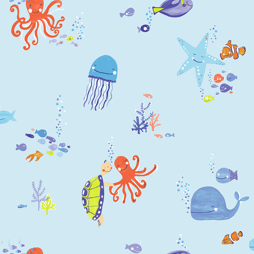 Arthouse Imagine Fun Wallpaper Underwater Fun Blue 696202 Full Roll