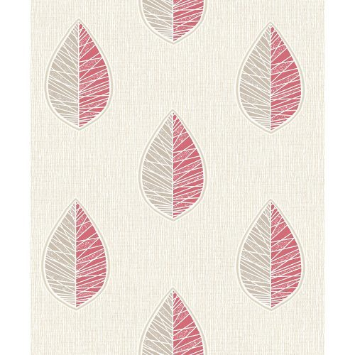 Crown Wallcoverings Scandi Leaf Blown Vinyl Wallpaper Red M1253 Sample