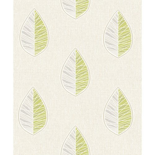 Crown Wallcoverings Scandi Leaf Blown Vinyl Wallpaper Green M1255 Sample