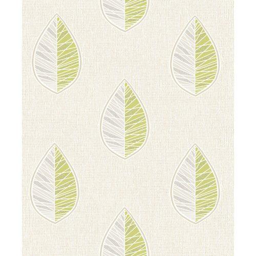 Crown Wallcoverings Scandi Leaf Blown Vinyl Wallpaper Green M1255 Sample