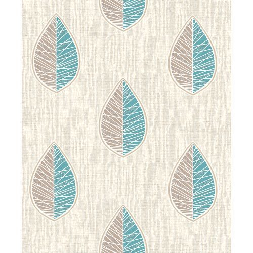 Crown Wallcoverings Scandi Leaf Blown Vinyl Wallpaper Blue M1256 Sample