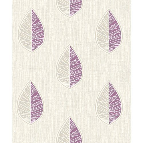 Crown Wallcoverings Scandi Leaf Blown Vinyl Wallpaper Purple M1257 Sample
