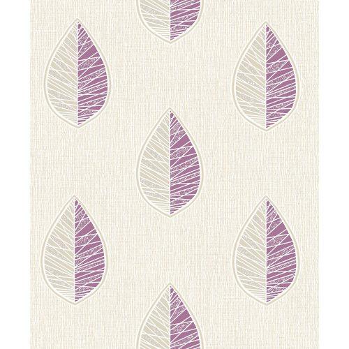 Crown Wallcoverings Scandi Leaf Blown Vinyl Wallpaper Purple M1257 Sample