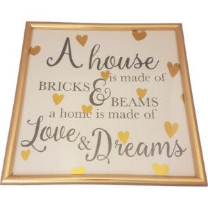 "Gold Hearts Picture ""Love & Dreams"""