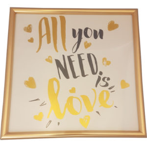 """Gold Hearts Picture """"All You Need Is Love"""""""