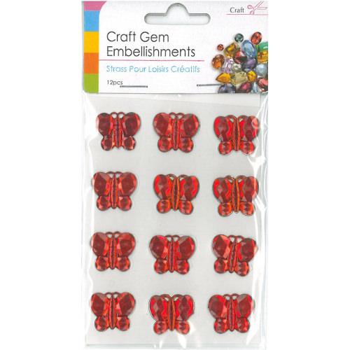 Craft Adhesive Gem Embellishment Butterflies Red