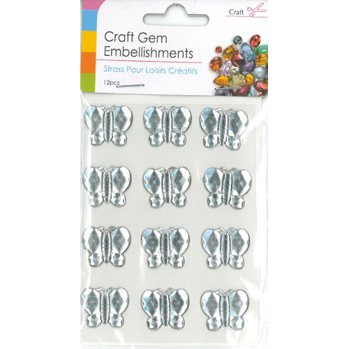 Craft Adhesive Gem Embellishment Butterflies Clear