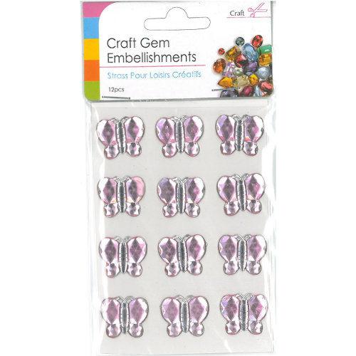 Craft Adhesive Gem Embellishment Butterflies Pink