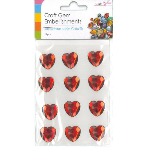 Craft Adhesive Gem Embellishment Heart Red