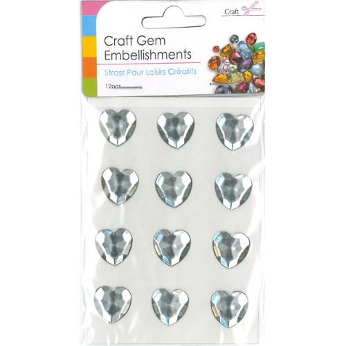 Craft Adhesive Gem Embellishment Heart Clear