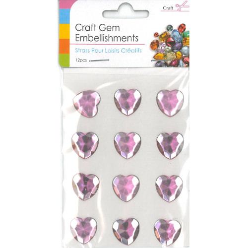 Craft Adhesive Gem Embellishment Heart Pink