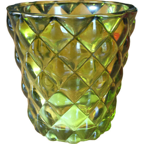 Glass Tealight Holder with Diamond Design in Green