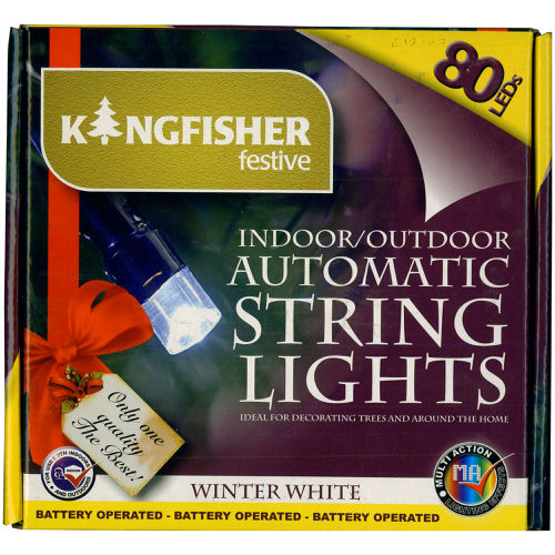 Battery Operated Automatic String Lights Winter White LED 80 Bulb with Timer