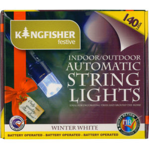 Battery Operated Automatic String Lights Winter White LED 140 Bulb with Timer