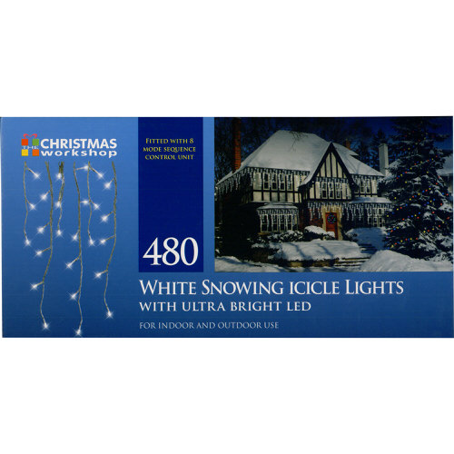White Snowing Icicle Lights with Ultra Bright LED 480 Bulb