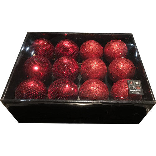 Snow White Luxury Bauble Set of 12 in Red