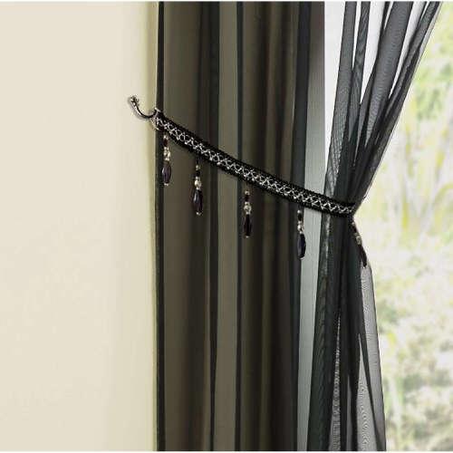 Sapphire Beaded Fringe Tieback in Black 145cm x 229cm