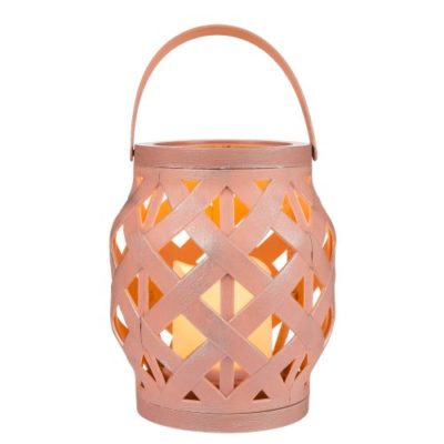 Plastic Candle Lantern with LED Candle Pink