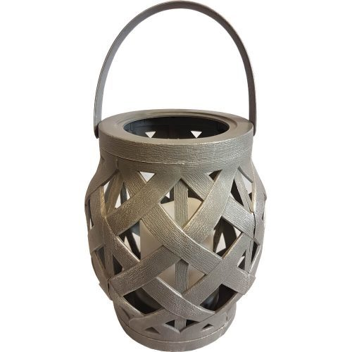 Plastic Candle Lantern with LED Candle Grey