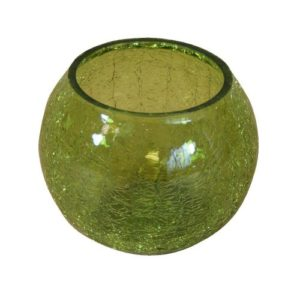 Crackle Glass Tealight Holder in Green