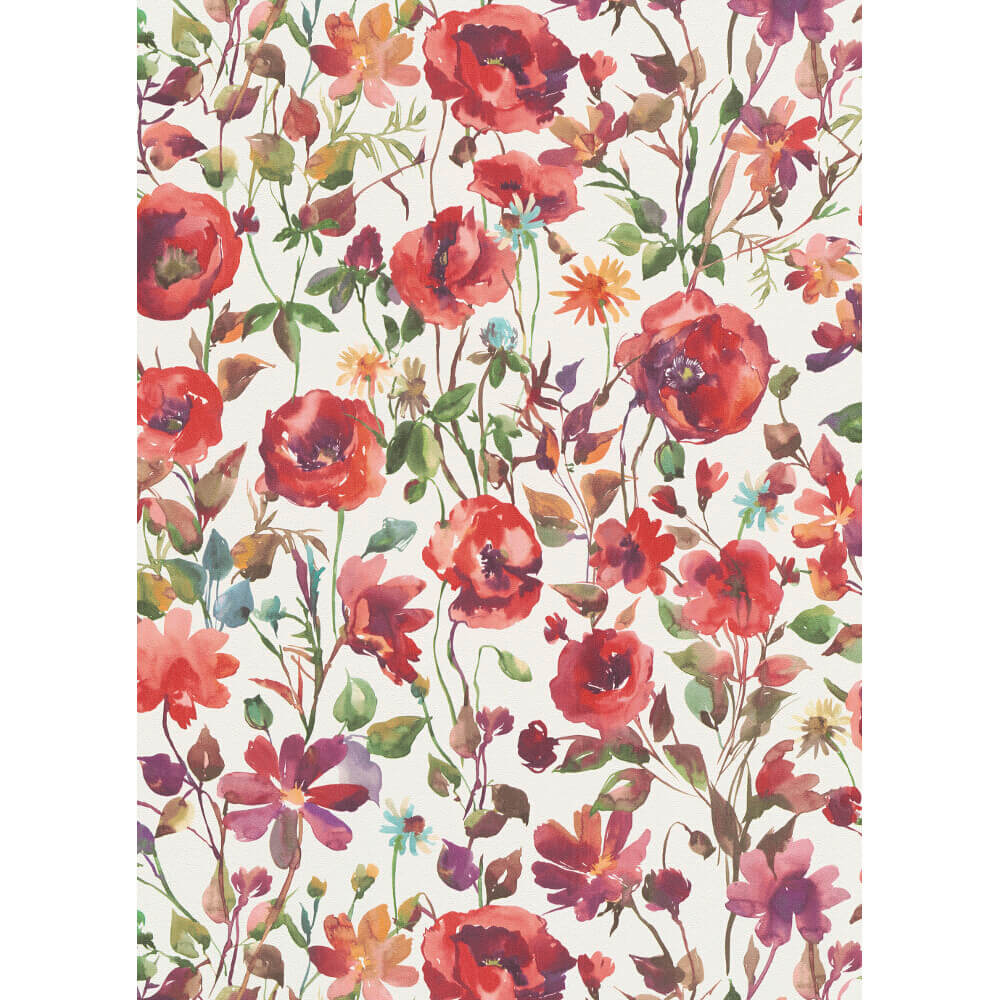 Erismann My Garden Floral Wallpaper Red 6330 06 Full Roll