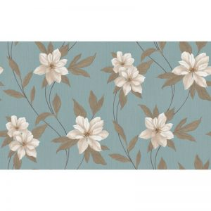 Erismann Spring Blown Vinyl Wallpaper Teal 9500-08 A4 Sample