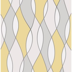 Fine Decor Heavyweight Wallpaper Apex Wave Yellow FD42170 Large Sample