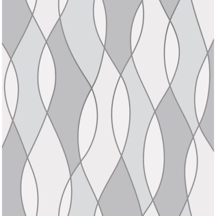 Fine Decor Heavyweight Wallpaper Apex Wave Grey FD42174 Large Sample