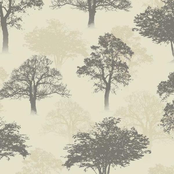 Holden Wallpaper Glitter Woodland Charcoal Beige Full Roll