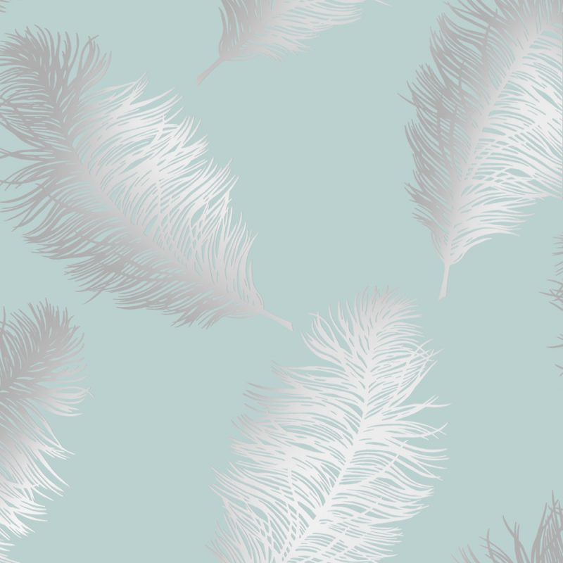Holden Decor Statement Wallpaper Fawning Feather Duck Egg Silver
