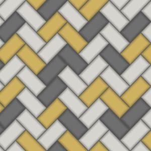 Holden Decor Wallpaper Tiling Chevron Yellow 89300 Sample