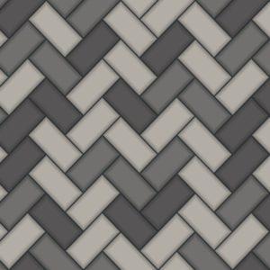 Holden Decor Wallpaper Tiling Chevron Charcoal 89302 Sample