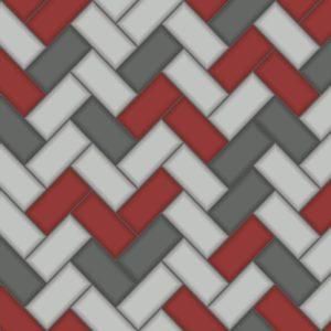 Holden Decor Wallpaper Tiling Chevron Red 89303 Sample